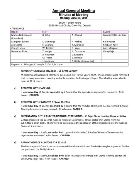 Agm Meeting Template by Annual Meeting Minutes Template 10 Free Word Pdf