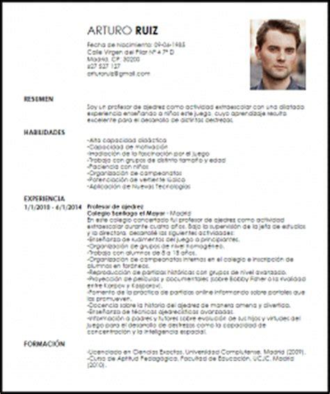Modelo Curriculum Vitae Profesor Modelo Curriculum Vitae Profesor De Actividades Extraescolares Livecareer