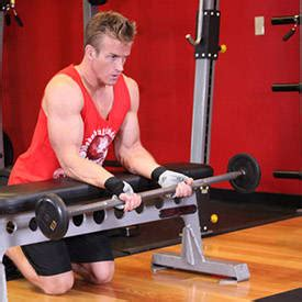 reverse wrist curl over bench palms up barbell wrist curl over a bench exercise guide