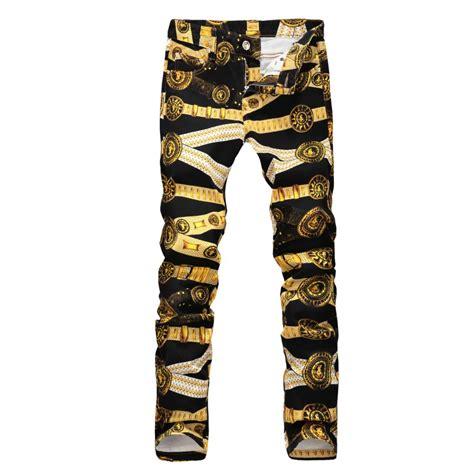 golden pattern jeans buy plus size factory fashion men casual black gold