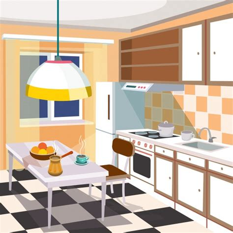 kitchen cartoon vector cartoon illustration of a kitchen interior vector