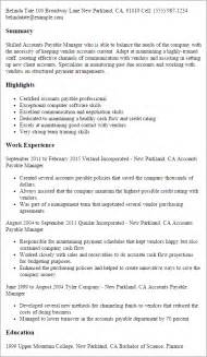 Accounts Payable Sle Resume by Professional Accounts Payable Manager Templates To Showcase Your Talent Myperfectresume