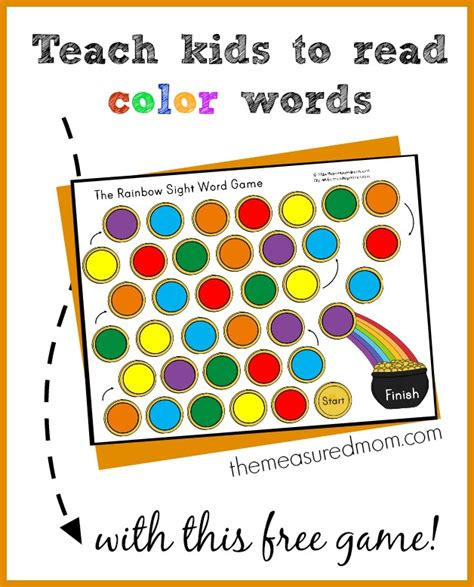 printable color games for kindergarten teach kids to read color words with this free rainbow