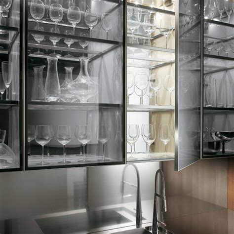 Kitchen Glass Cabinet Doors Kitchen Minimalist Transparent Glass Kitchen Wall Cabinets With Semi Black Glass Covers And
