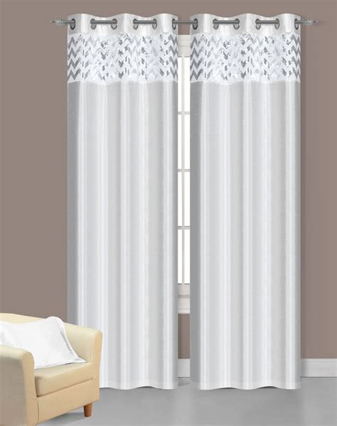 Pair Of Sparkle White Faux Silk Window Curtain Panels W