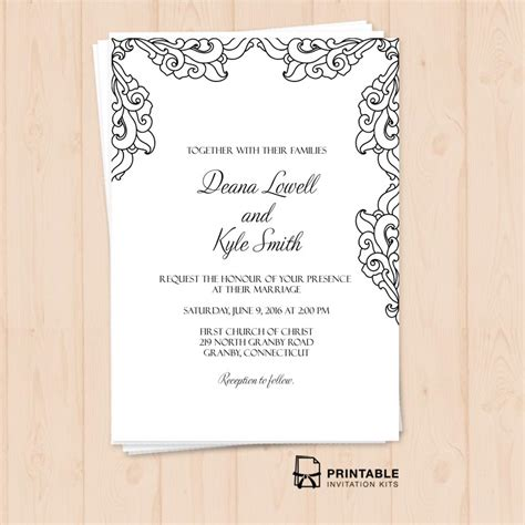 Free Pdf Vintage Side Border Invitation Printable Wedding Invitation Template For Diy Brides Free Pdf Wedding Invitation Templates
