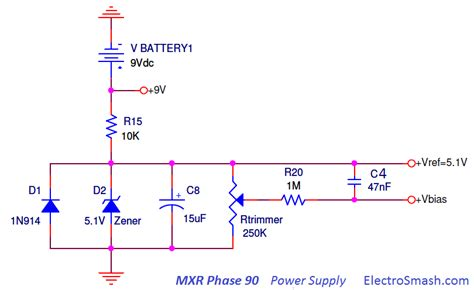 resistor divider power supply electrosmash mxr phase 90 analysis