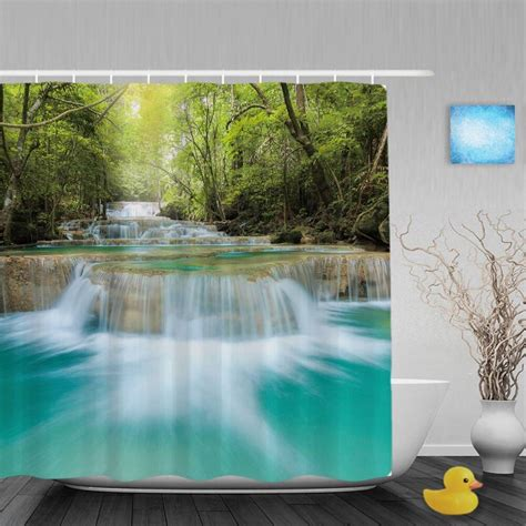 nature landscape shower curtain waterfall trees
