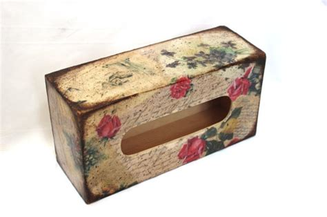 Decoupage Tissue Box - tissue box cover vintage roses home by