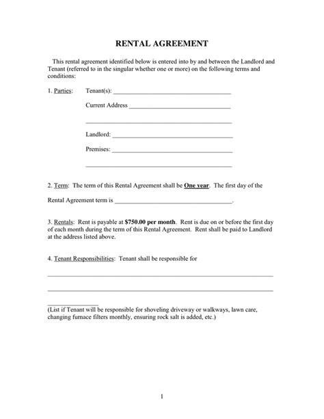rental agreement form in word and pdf formats