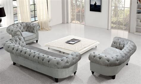 tufted sofa set divani casa alexandrina grey tufted fabric sofa set