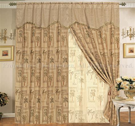 Classic Palm Tree Curtain Set W Valance Sheer Tassels Ebay