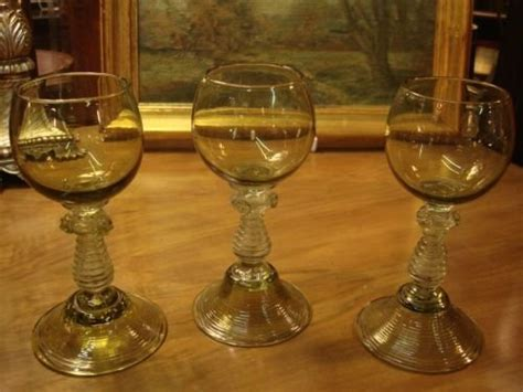 Serpentine Goblets It Or It by 19th Century Beautiful Set Of 3 Green Roemer