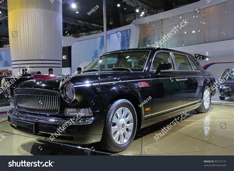Rote Fahne Auto by Guangzhou China Dec 27 Flag Car On Display At The
