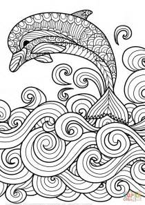 zentangle dolphin scrolling sea wave design coloring art amp culture free download