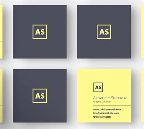 square business card design template mini square business card psd templates design graphic