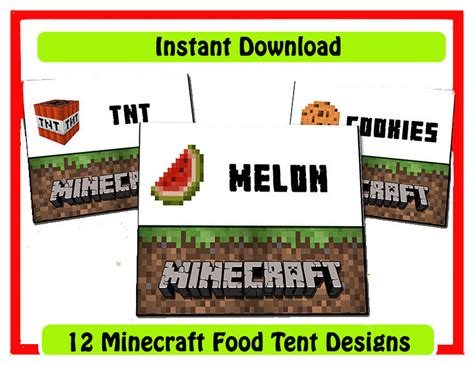 Minecraft Food Label Templates 9 best images of free minecraft printable food label