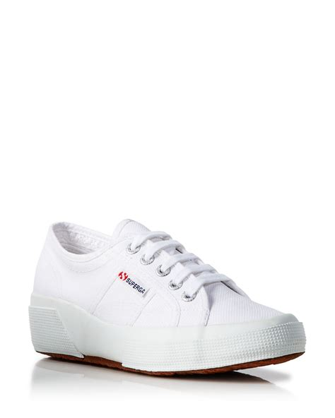 up sneakers superga lace up sneakers wedge heel in white lyst