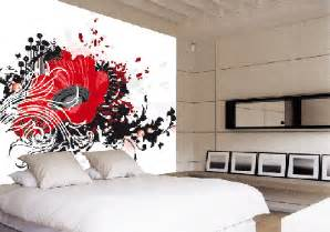 attractive Creative Bedroom Wall Decor Ideas #2: 1198-Red-Flower-Roomset.gif