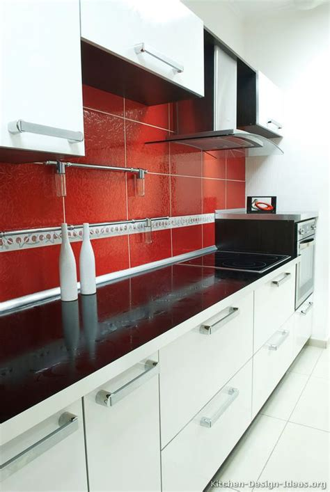 Red Kitchen Backsplash by Pictures Of Kitchens Modern White Kitchen Cabinets