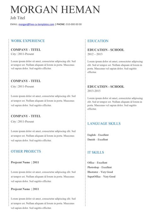 Simple Cv Template by Basic Cv Templates In Microsoft Word Land The With