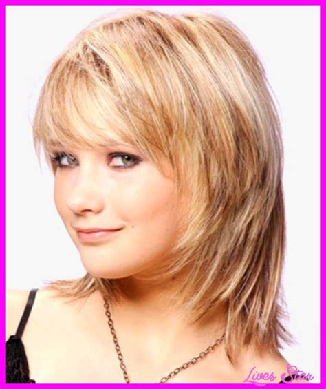 medium haircuts with bangs for round faces medium length curly medium layered haircuts for thick hair and round faces
