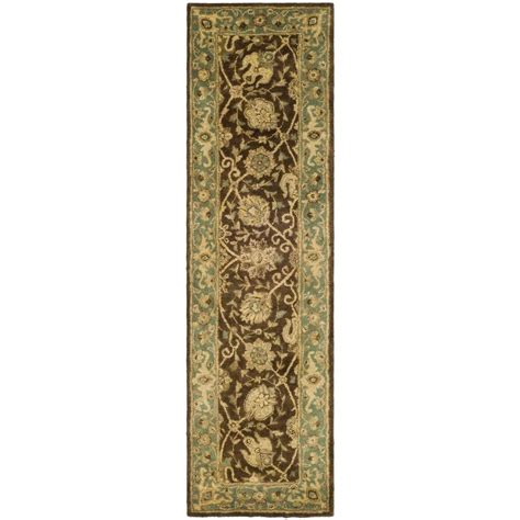 rug runners 2 x 10 safavieh antiquity brown green 2 ft 3 in x 10 ft runner at21g 210 the home depot