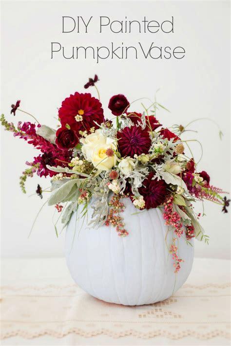 DIY Painted Pumpkin Vase Centerpiece   Aisle Society
