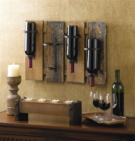 wall decor for home bar wall mounted wine rack wood wrought iron bottle holder