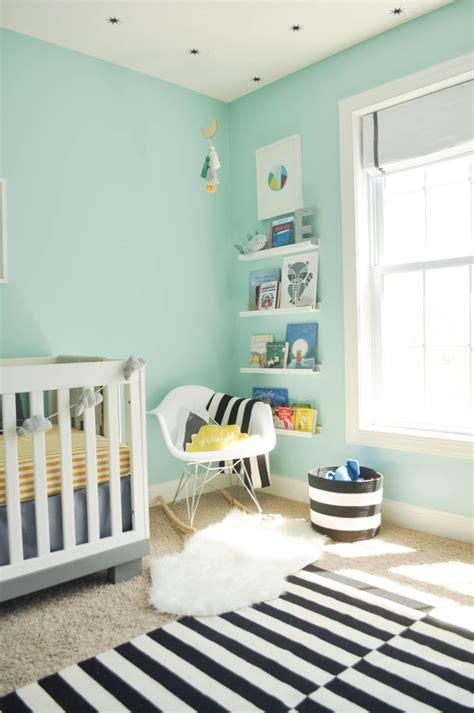 modern  whimsical nursery  turquoise blue walls