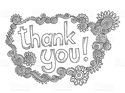 you doodle drawing thank you doodle ornament flowers drawing stock vector