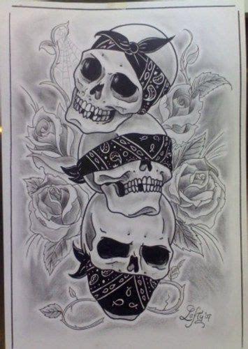 hear no see no speak no evil skulls with bandana ink