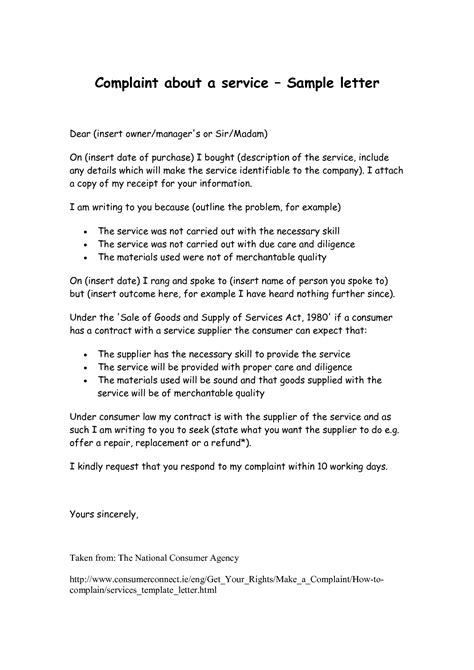 Complaint Letter Template Bad Service best photos of letter of complaint bad service service