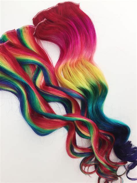 can you dye rain human hair rainbow human hair extensions colored hair extension clip
