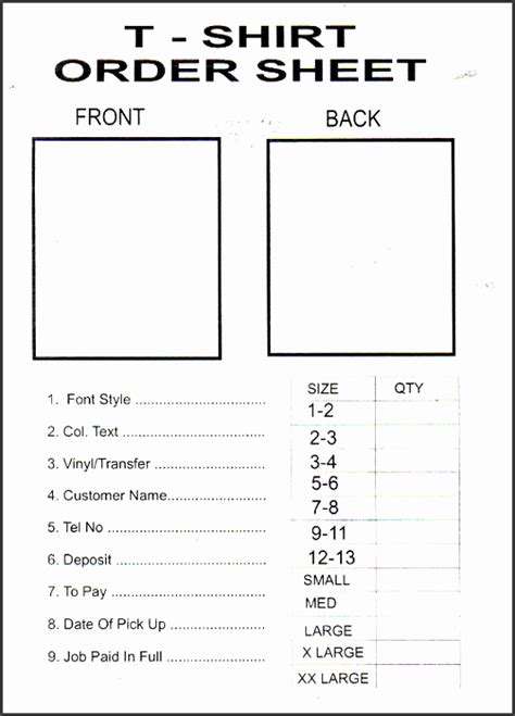 printable  shirt order form template sampletemplatess