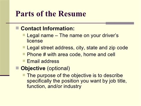5 parts of a resume resume ideas