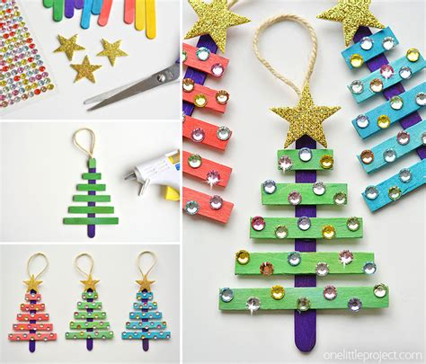 glittering popsicle stick christmas trees made with