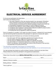 Electrician Contract Template by Service Contracts