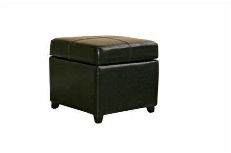 Black Full Leather Storage Cube Ottoman Affordable Ottoman Storage Cube