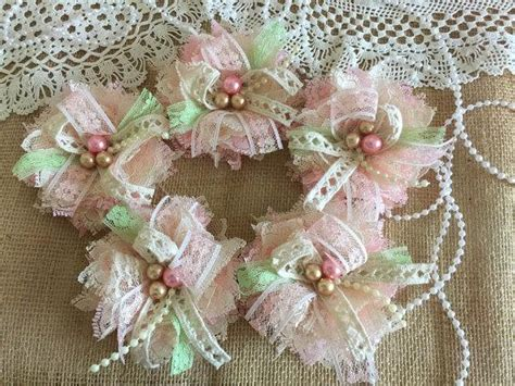 Handmade Lace Flowers - 5 shabby chic lace pink honey ivory and light green
