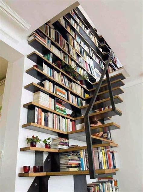 stairs into bookshelf stairway to my