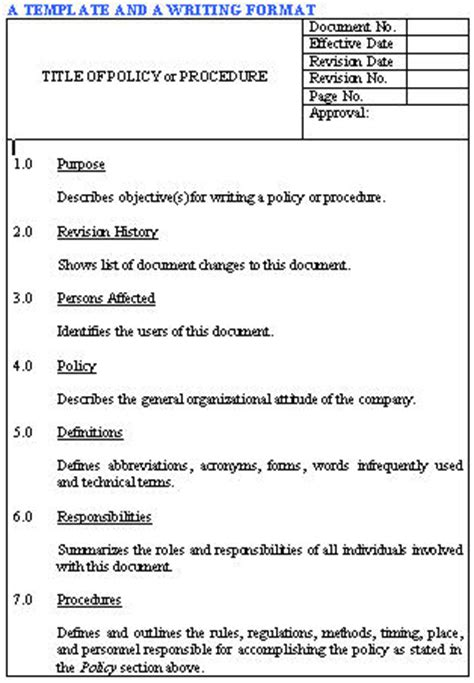 written procedure template policies and procedures the wiki