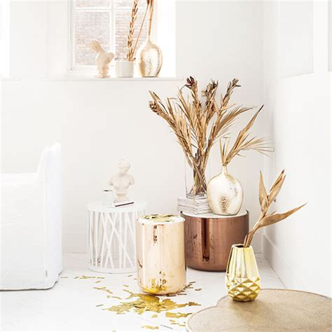 White And Gold Room Decor Modern White Living Room With Gold Accents Decorating Ideal Home