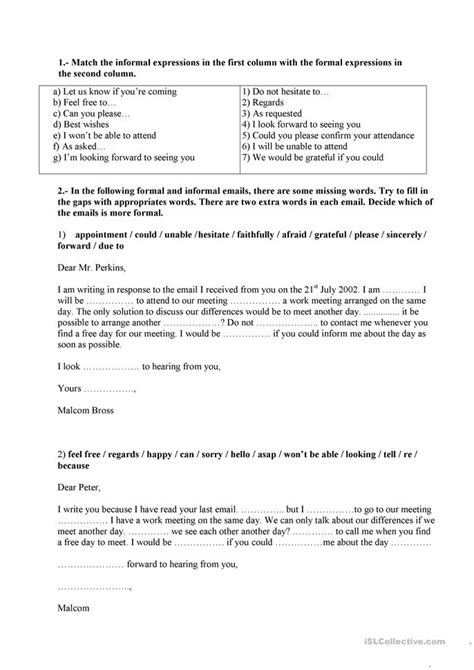 Formal Letter In Grammar Formal And Informal Language Letter Email Worksheet Free Esl Printable Worksheets Made By
