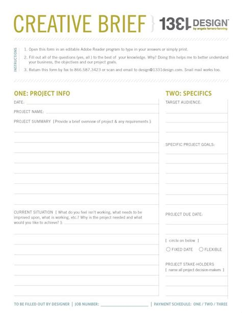 marketing brief template 19 best creative brief exles images on