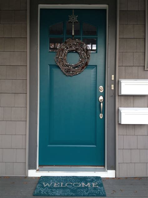 door accent colors for greenish gray teal front door use gray shutters on the brick house too