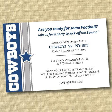 Dallas Cowboys Football Party Invitation Diy By Dovetaildesigns Dallas Cowboys Invitation Template