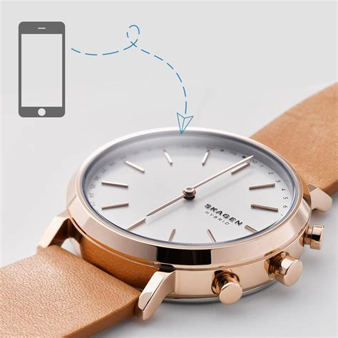 amazon com skagen hagen titanium and leather hybrid smartwatch skagen hagen connected brown leather hybrid smartwatch