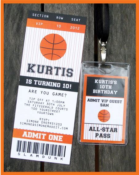 Basketball Ticket Invitation Printable Party Collection Basketball Ticket Template Free