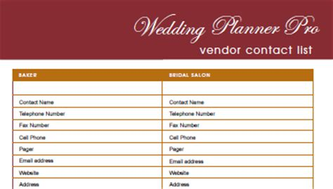 wedding vendor checklist template diy free wedding planner pro fillable pdf worldlabel